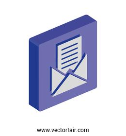 button with envelope mail isolated icon
