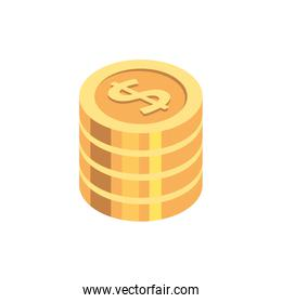 stack of coins money cash isolated icon