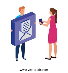 young couple and button with envelope mail