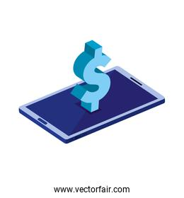 smartphone device with dollar symbol