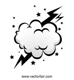 cloud with thunderbolt and stars pop art style icon