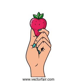 hand with delicious strawberry pop art style icon