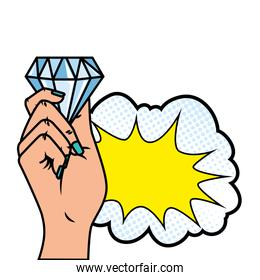 hand with diamond and cloud pop art style icon