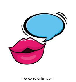 sexy lips with speech bubble pop art style icon