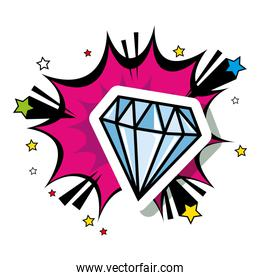 diamond with explosion pop art style icon