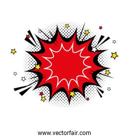 explosion red color with stars pop art style icon