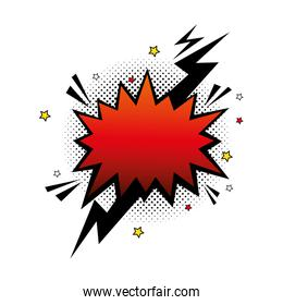 explosion red color with thunderbolt pop art style icon
