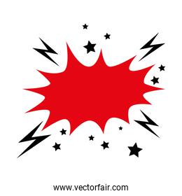 explosion red color with thunderbolts pop art style icon