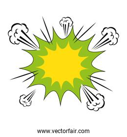 explosion green color pop art style icon