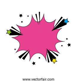 explosion pink color with stars pop art style icon