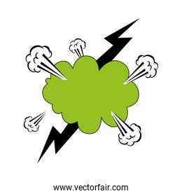 cloud explosion green color with thunderbolt pop art style