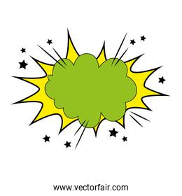 explosion green color and stars pop art style icon