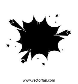 silhouette of explosion with stars pop art style icon