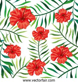 background of flowers of red color with branches and leafs