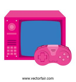 tv of nineties with control game isolated icon