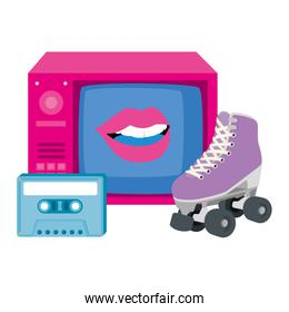 tv of nineties with roller skates and cassette