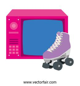tv of nineties retro with roller skates isolated icon