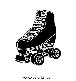 silhouette of roller skate of nineties retro isolated icon