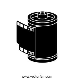 silhouette of roll camera nineties retro isolated icon