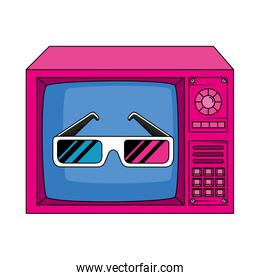 tv with glasses of nineties retro style isolated icon