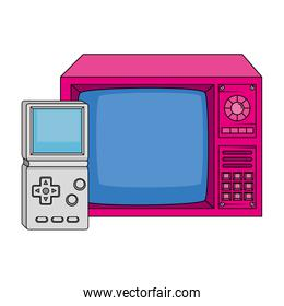 tv with video game handle nineties style