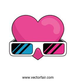 glasses accessory with heart nineties retro style