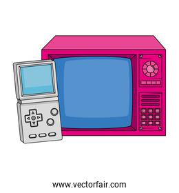 tv with video game handle nineties retro style over white