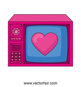 tv with heart nineties retro style isolated icon