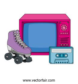 roller skate with tv and cassette nineties retro