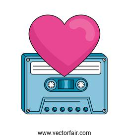 cassette with heart nineties retro isolated icon
