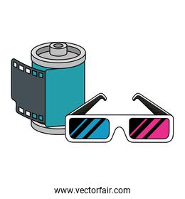 roll camera with glasses nineties retro isolated icon