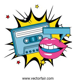 cassette of nineties with lips in explosion pop art style icon