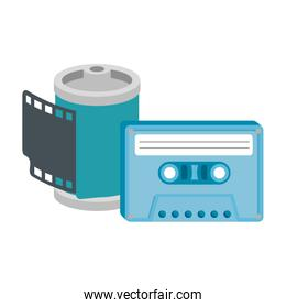 roll camera of nineties with cassette isolated icon