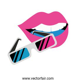 glasses of nineties with heart love isolated icon
