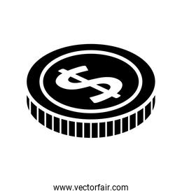 silhouette of coin money cash isolated icon