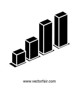 silhouette of bars statistical graph isolated icon