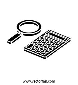 silhouette of magnifying glass with calculator math