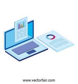 laptop with infographics isolated icon
