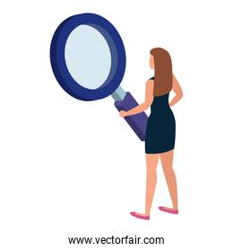 back beautiful woman with magnifying glass isolated