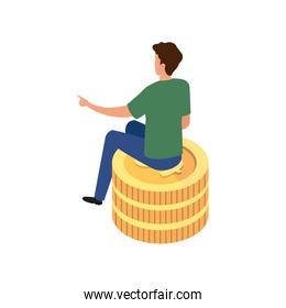 back young man sitting in stack coins