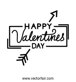 happy valentines day lettering with arrow isolated icon