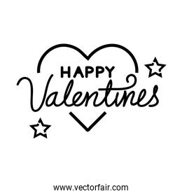 happy valentines day lettering with heart and stars