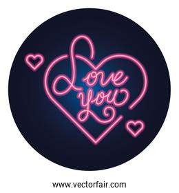 love you lettering with hearts isolated icon