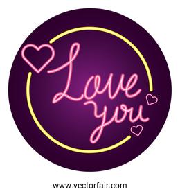 love you lettering in frame circular isolated icon
