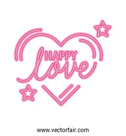 happy lettering with heart and stars decoration