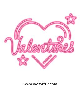 valentines lettering with heart and stars neon lights