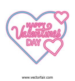 happy valentines day lettering with hearts decoration