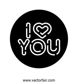 i love you lettering with heart isolated icon