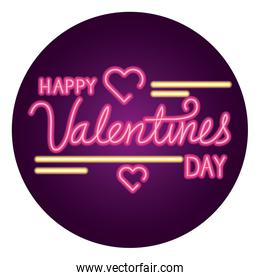 happy valentines day lettering with frame circular and hearts