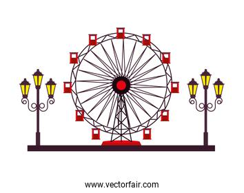 panoramic wheel attraction with lamps